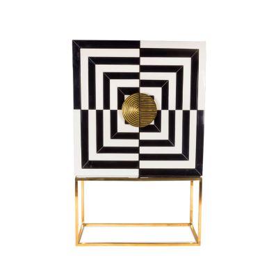 Lavinia Mirrored Cabinet Brass